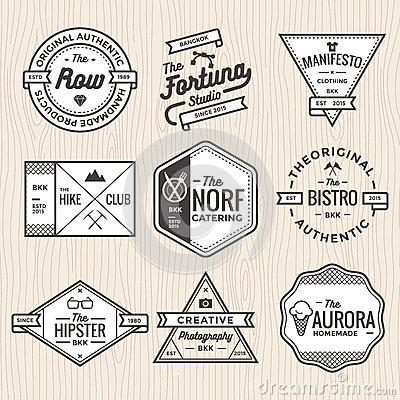 Set of thin line vintage badges, banners, label, ribbon and logo template vector for business and shop Vector Illustration