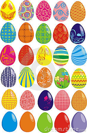 Set of thirty Easter eggs