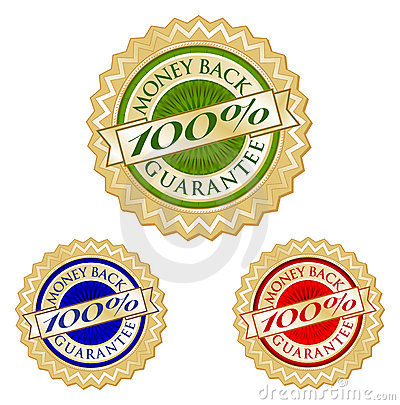 Set of Three 100  Money Back Guarantee Emblem Seal