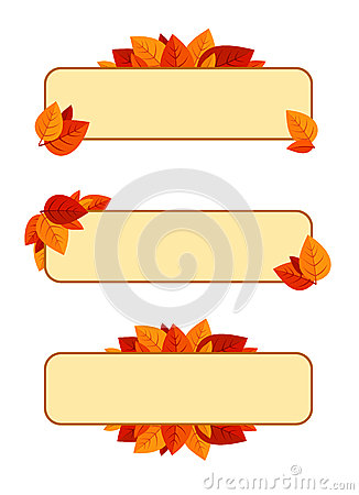 Set of three  banners with autumn leaves.