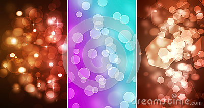Set Of three Bokeh backgrounds