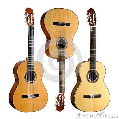 Set of three classical guitars