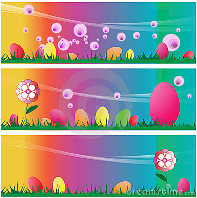 Set of three Easter Scenes Backgrounds