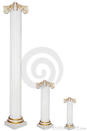 Set of three greek columns, diffirent sizes
