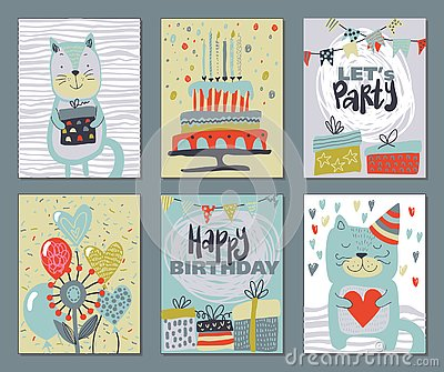 Set of three Happy Birthday Party cards. Vector hand drawn illustration Vector Illustration