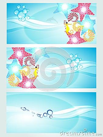 Set of three headers displaying waves