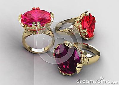 Set of three Italian gemstone cocktail rings