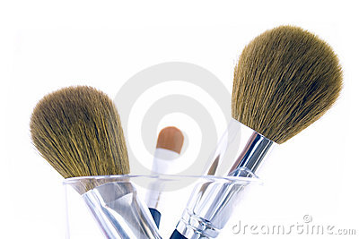Set of three makeup brushes