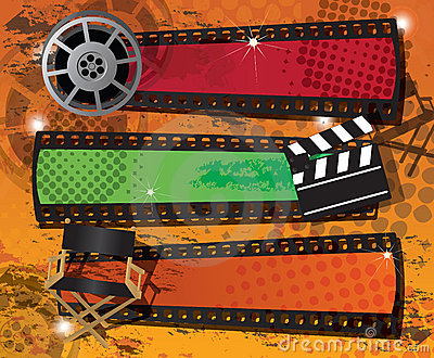 Set of three movie banners on grungy background