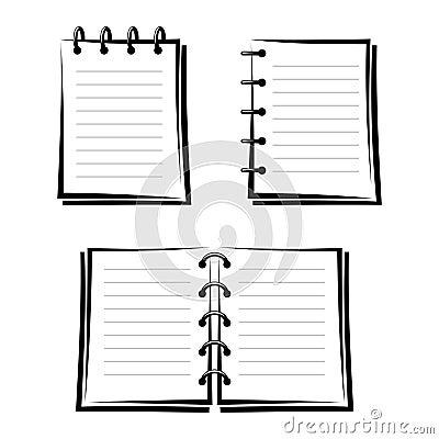 Set of three notebooks.