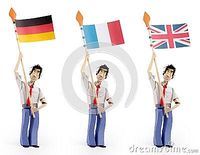 Set of paper men holding european flags