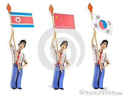 Set of paper men holding asian flags