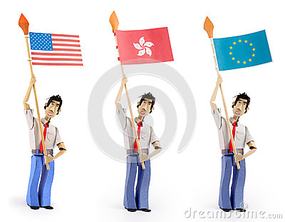 Set of paper men holding flags
