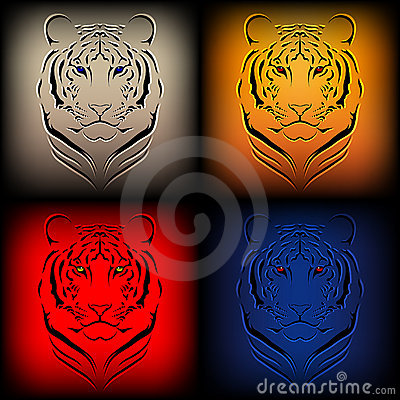 Set of  tigers in various colors
