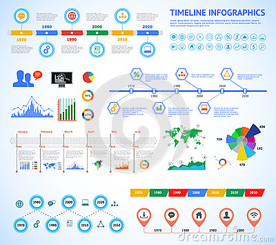 Set of timeline Infographic with diagrams and text. Vector Concept Illustration for business presentation, booklet, web site etc. Vector Illustration