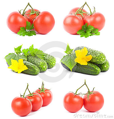 Set tomato and cucumber fruits