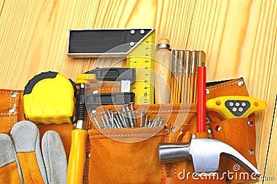 Set of tools in belt