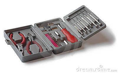 A set of tools in the box.
