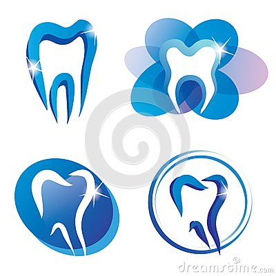 Set of tooth stylized vector icons