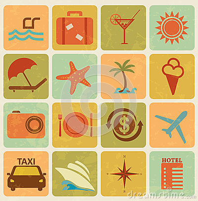 Set of 16 tourism icons