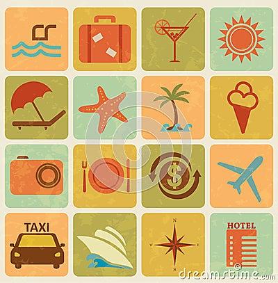 Set of 16 tourism icons
