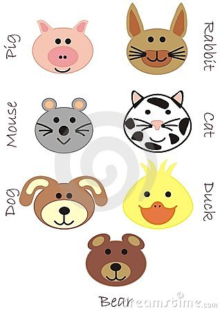 Set of toy animal heads background