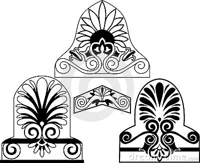 Set of traditional architectural elements stencil