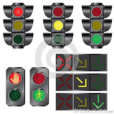 Set of traffic lights.