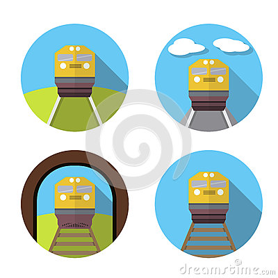 Set of train icon in flat Vector Illustration