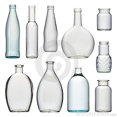 Set of transparent glass bottles