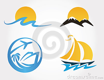 Set of travel icons mountains, waves, yacht