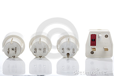 Set of travel plugs for UK, Europe and America
