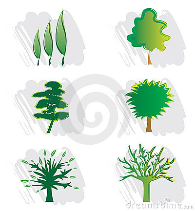 Set of Tree Icons for Logo Design