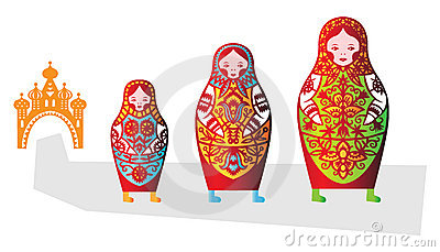 Set of tree russian dolls matreshka