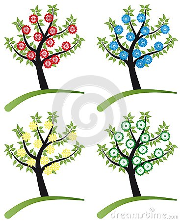Set of tree stylized with flowers
