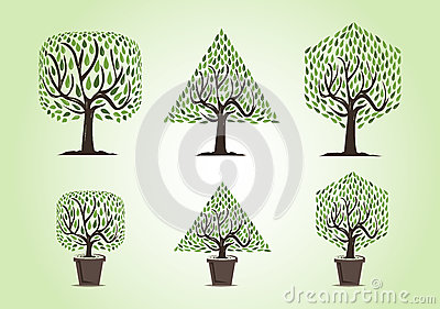 Set of trees with different forms Vector Illustration