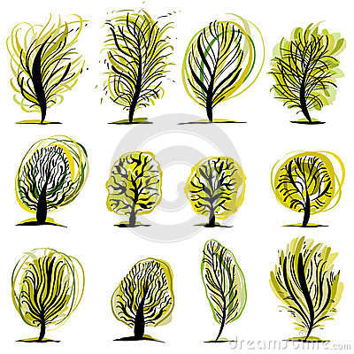 Set of trees illustrations.