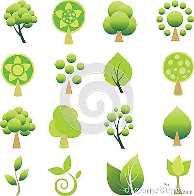 Set of trees and leaf.