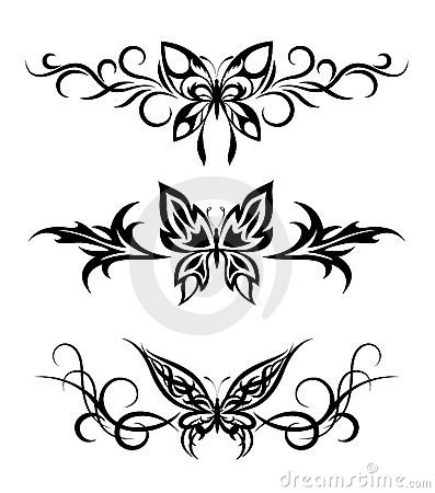 More similar stock images of set tribal with butterflies tattoo