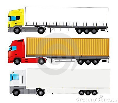 Set of trucks with trailers