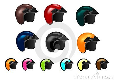 Set of twelve motorcycle helmets, cdr vector
