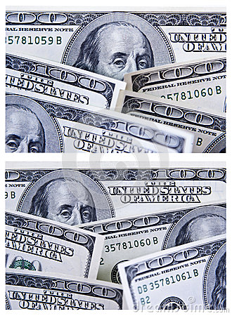 A Set of Two 100 Dollar Bill Backgrounds