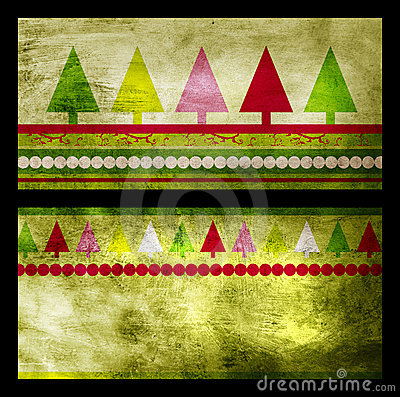 Set of two green Christmas greeting cards