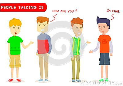 Set of two men talking about ` How are you ? ` Vector Illustration
