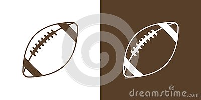 A set of two options for simple icons, contour, balls for American football. On white and brown background Vector Illustration