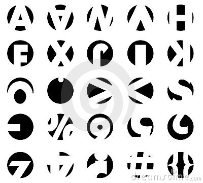 typography circles with parts of letters and key signs