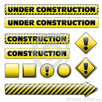 Set of under constuction signs