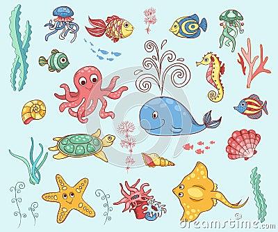 Set of underwater animals