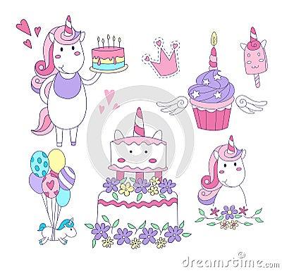 Set of Unicorn party elements. Cake, cupcake, unicorns,balloons, ice-cream, crown. Vector illustration Vector Illustration