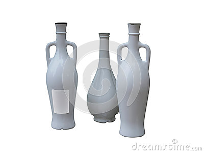 Set of unlabeled beautiful bottles isolated over white